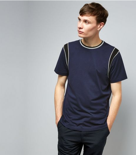 Navy Colour Block Panelled Sleeve T-Shirt | New Look