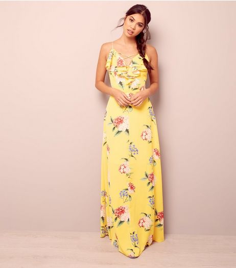 Yellow Floral Print Lattice Front Maxi Dress | New Look