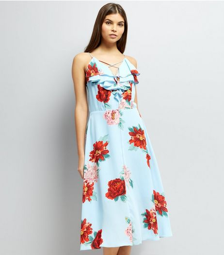 Blue Floral Print Frill Trim Midi Dress | New Look