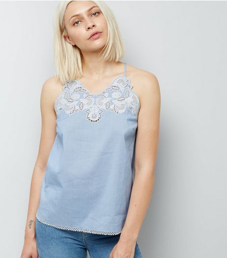 Blue Crochet Neck Stripe Cami Top | New Look