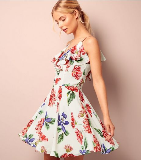 White Floral Print Frill Trim Skater Dress | New Look