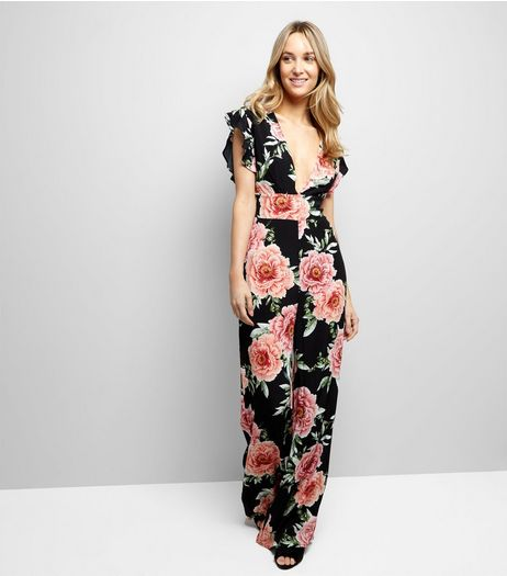 Black Floral Print Plunge V Neck Jumpsuit | New Look