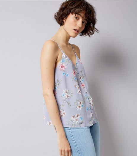 Purple Floral Print Cami Top  | New Look