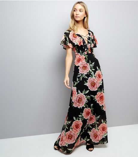 Black Floral Print Lattice Front Maxi Dress  | New Look