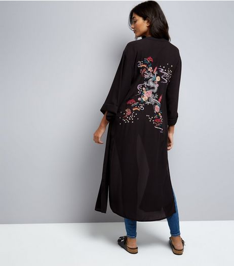 Black Dragon and Floral Embroidered Kimono | New Look