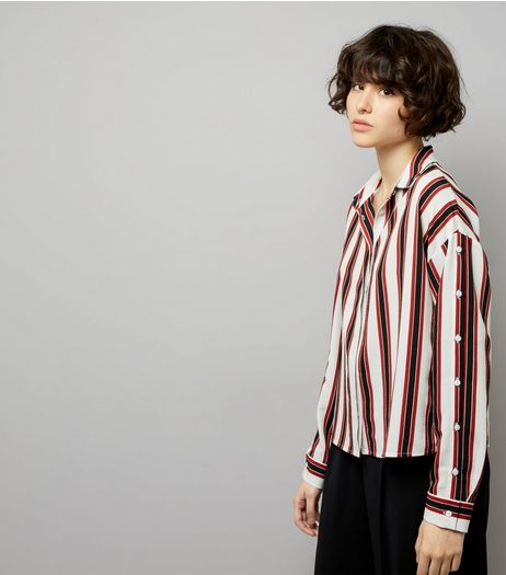 White Contrast Stripe Button Sleeve Shirt | New Look