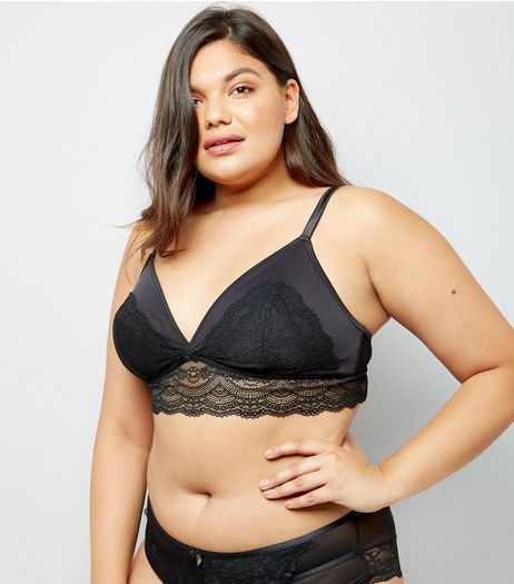 Curves Black Premium Lace Bralet | New Look
