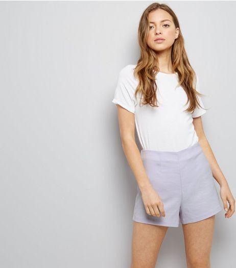 Lilac Cross Hatch Shorts | New Look