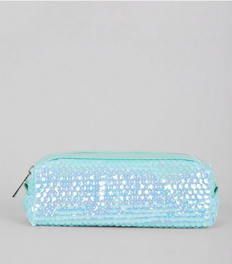 Mint Green Sequin Pencil Case  | New Look