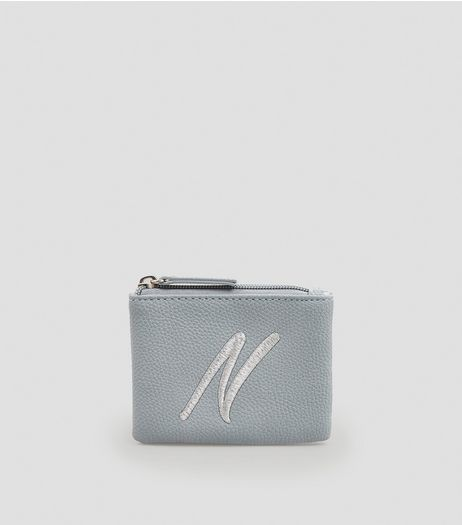 Stone Metallic Initial N Embroidered Purse | New Look