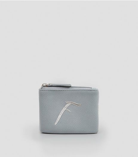 Blue Metallic Initial F Embroidered Purse | New Look
