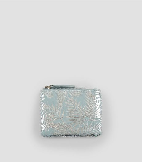 Blue Metallic Palm Print Zip Top Purse | New Look