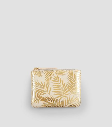 Gold Metallic Palm Print Purse | New Look
