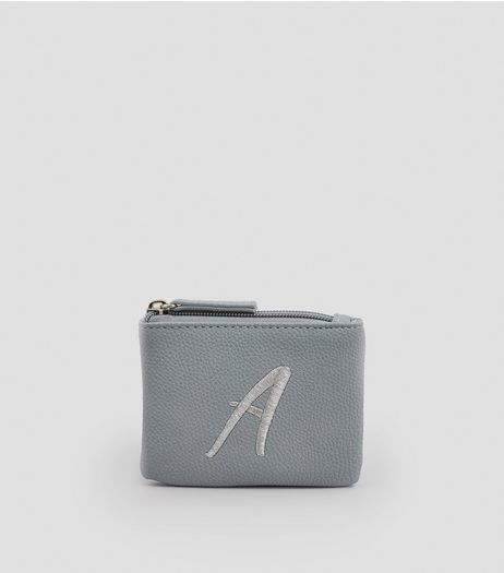Stone Metallic Initial A Embroidered Purse | New Look