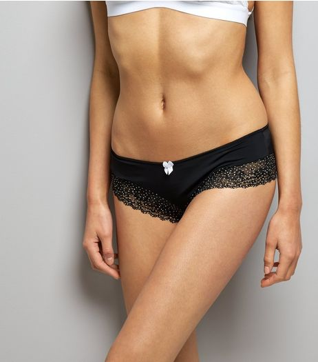 Black Spot Print Lace Trim Brazilian Briefs | New Look