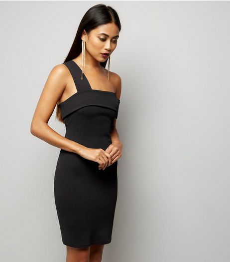 Petite Black Single Strap Fold Over Bodycon Dress | New Look
