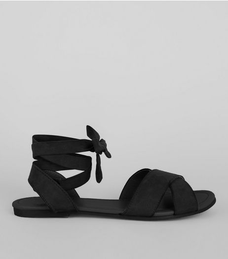 Teens Black Suedette Ankle Tie Sandals | New Look