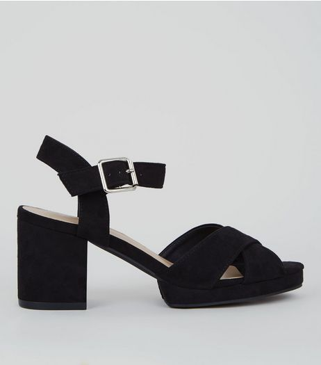 Teens Black Suedette Cross Strap Platform Heels | New Look