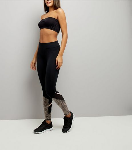 Black Spacedye Panel Sports Leggings  | New Look