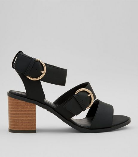 Teens Black Buckle Strap Heeled Sandals | New Look