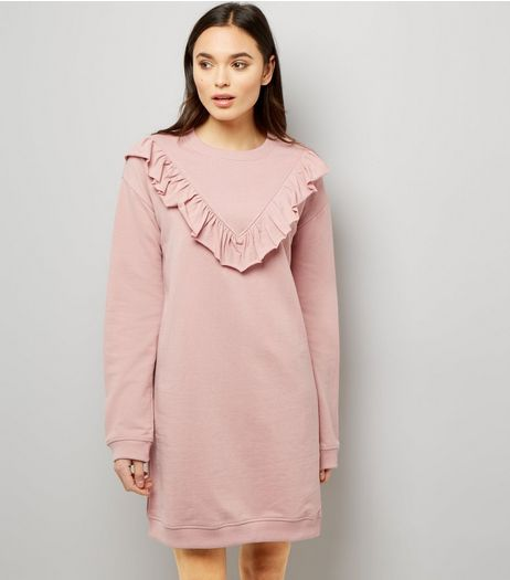 Mid Pink Frill Trim Sweater Dress | New Look