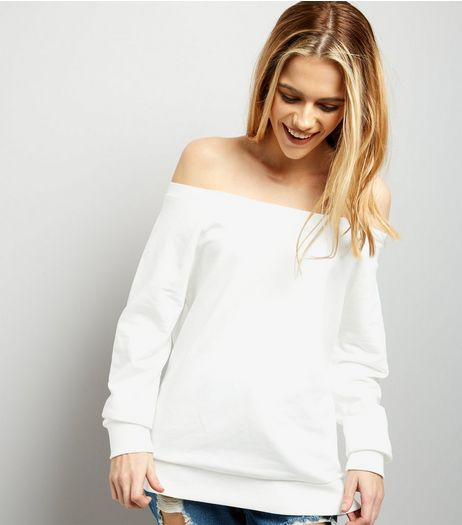 Cream Bardot Neck Long Sleeve Sweater  | New Look