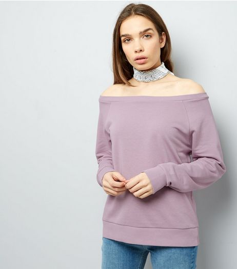 Lilac Bardot Neck Long Sleeve Jumper  | New Look