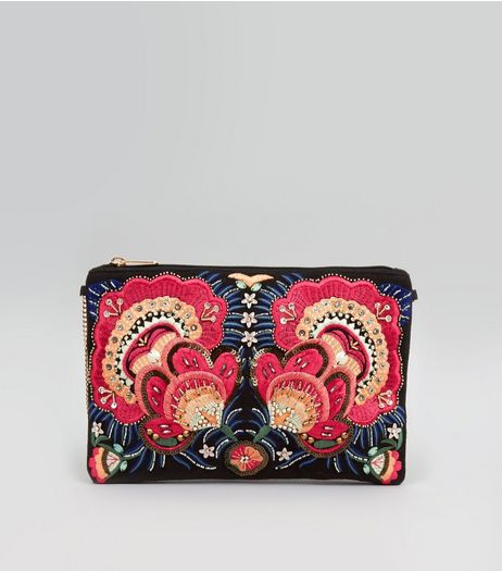 Black Floral Bead Embroirdered Clutch | New Look