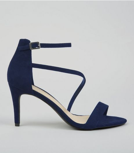 Navy Suedette Strappy Heeled Sandals | New Look