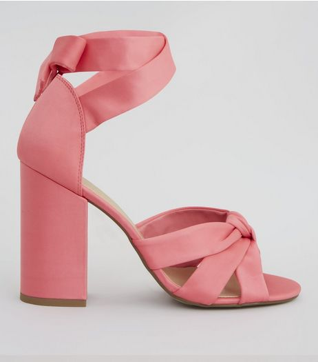 Coral Pink Satin Knot Front Block Heels | New Look
