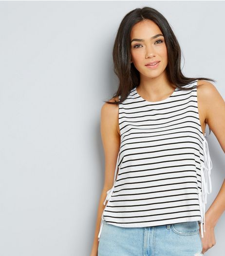 Blue Stripe Tank Top  | New Look