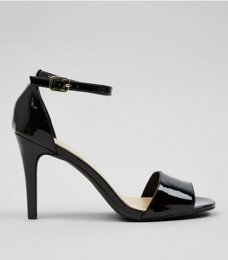 Black Patent Square Toe Heeled Sandals | New Look