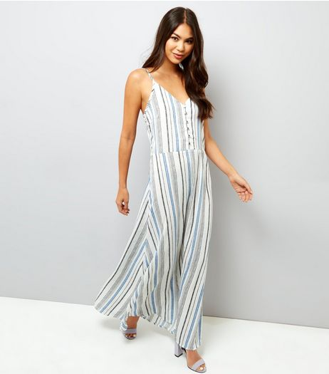 Mela White Stripe Button Front Maxi Dress  | New Look