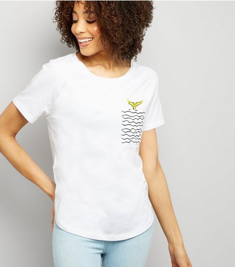 Noisy May White Mermaid Pocket T-Shirt | New Look