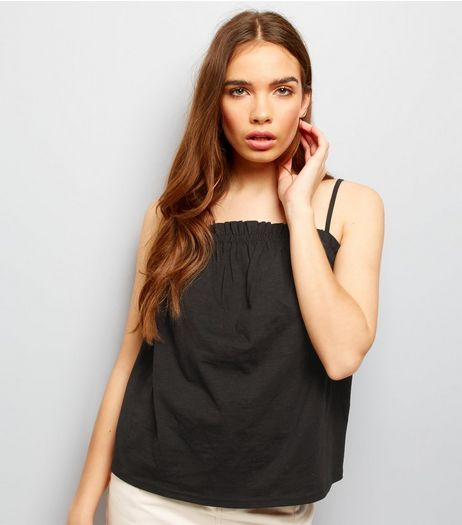Black Frill Trim Cami Top  | New Look