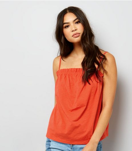 Orange Frill Trim Cami Top | New Look