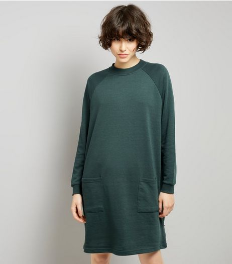 Noisy May Dark Green Double Pocket Jumper Dress | New Look