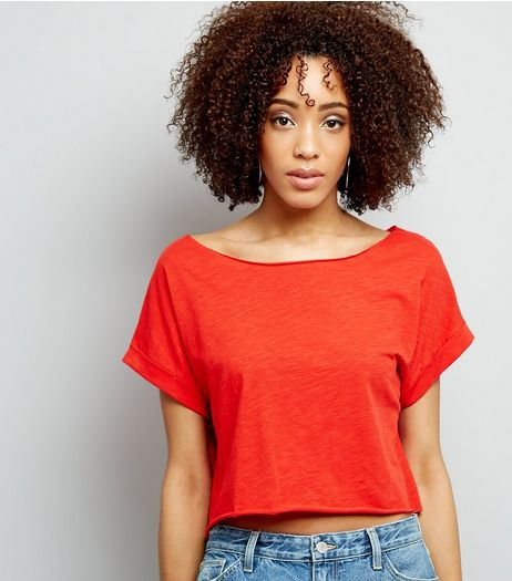 Orange Rolled Sleeve Crop Top | New Look