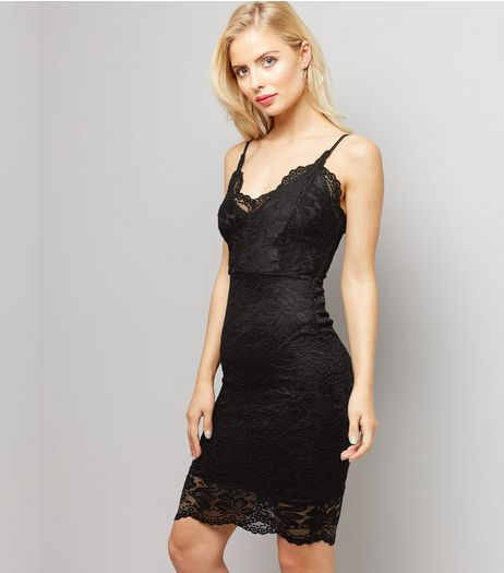Black Lace Bodycon Dress | New Look