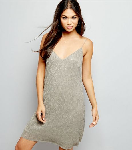 Bronze Metallic Pleated Slip Dress | New Look
