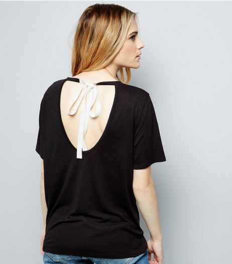 Black Tie Open Back T-Shirt | New Look