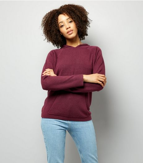 Noisy May Dark Red Knitted Hoodie  | New Look