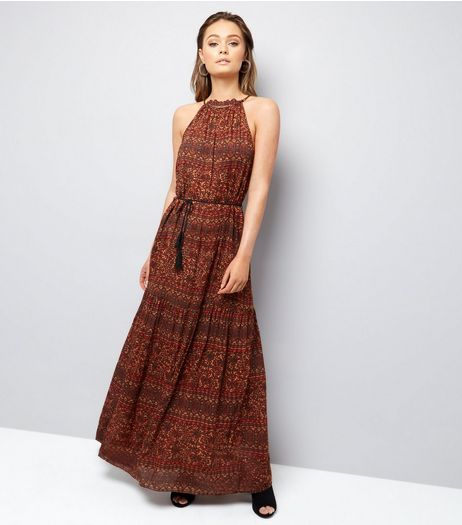 Brave Soul Brown High Neck Tie Waist Maxi Dress  | New Look