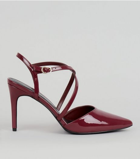 Dark Red Patent Cross Strap Pointed Heels | New Look