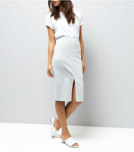 White Gingham Bengaline Pencil Midi Skirt  | New Look