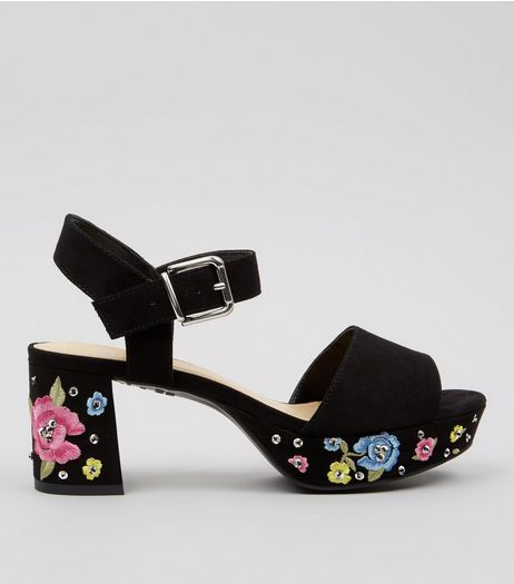 Teens Black Suedette Floral Embroidered Platform Heels | New Look