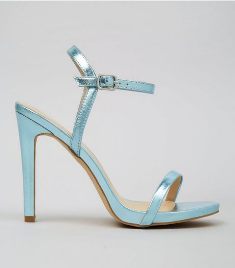 Blue Metallic Ankle Strap Heels | New Look