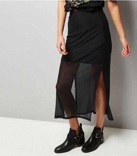 Black Mesh Midi Skirt  | New Look