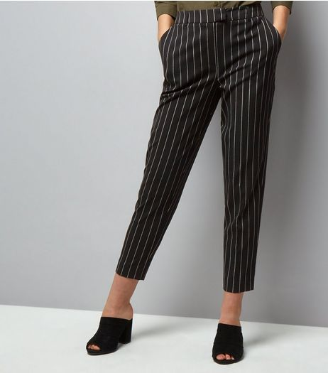 Black Pinstripe Print Slim Leg Trousers  | New Look