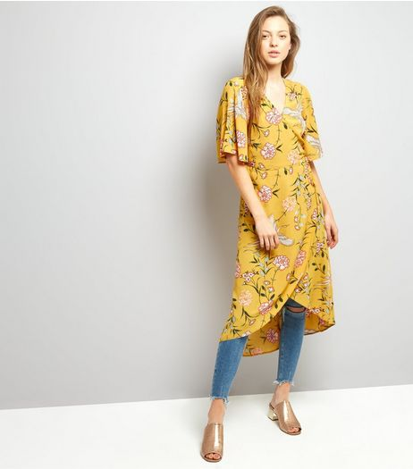 Yellow Floral Print Wrap Front Midi Dress  | New Look
